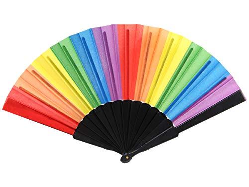 Alsino Handfächer Fächer Hochzeit Flamenco Tanzfächer Stofffächer Taschenfächer Klappfächer Spitzenfächer, Fae-25 Rainbow