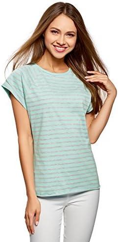 oodji Camiseta Manga Raglán Mujer de Algodón