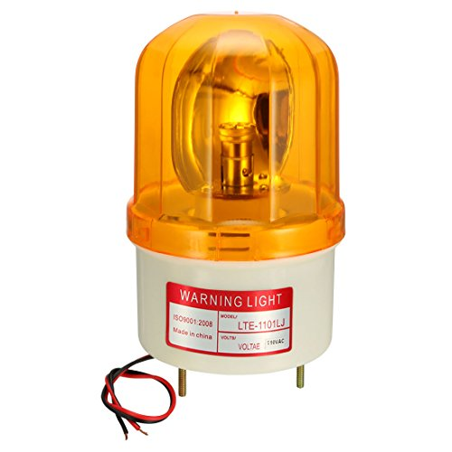 uxcell LED Warning Light Bulb Rotating Flashing Industrial Signal Tower Lamp Buzzer 90dB AC 110V Yellow LTE1101LJ