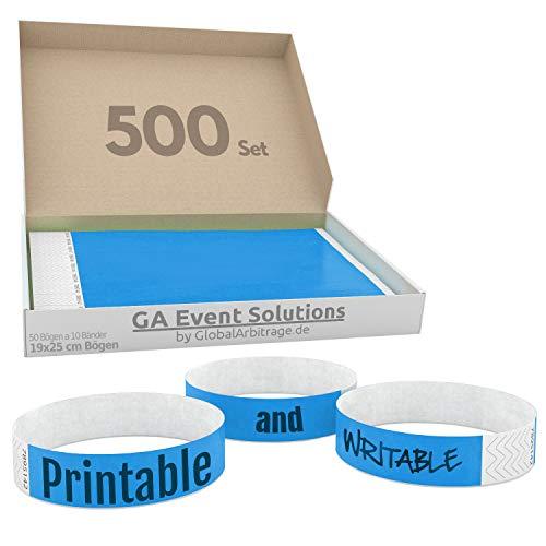 500 Eintrittsbänder aus Tyvek zum selbst gestalten und bedrucken in Hellblau von GA Event Solutions - Party Einlassbänder, Festival Armbänder für dein Event