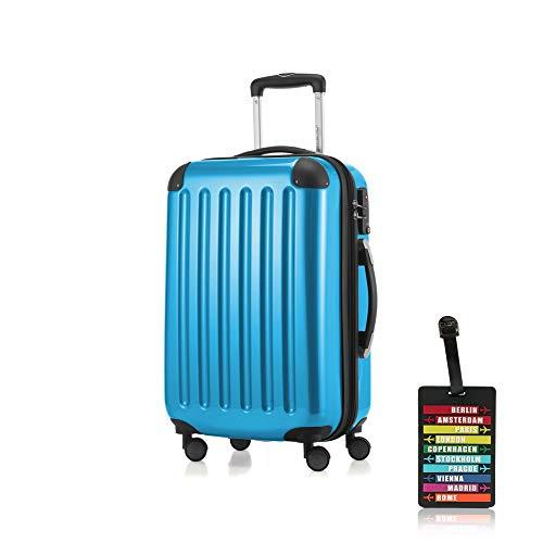 Hauptstadtkoffer - Alex Handgepäck Kabinentrolley Bordgepäck Hartschalen-Koffer, sehr leicht, TSA, 55 cm, 42L, Cyan Blau +Design Kofferanhänger