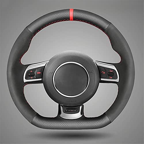 VIdisp Funda para Volante de Gamuza de Cuero Negro, para Audi TT A3 S3 (8P) Sportback TTS (8J) 2006-2014