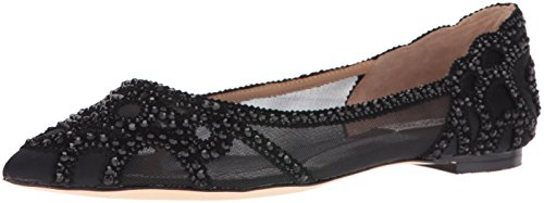 Badgley Mischka Women's Gigi Pointed Toe Flat, Black, 9 M US