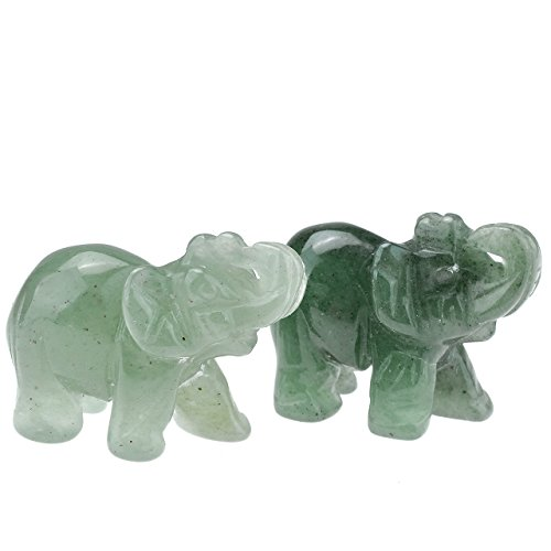 JOVIVI 2 Pcs Natural Carved Healing Gemstones Crystal Elephant Figurines Statues 1.5'' Hoom Room Decor Desk Decoration Christmas Ornaments in Gift Box - Green Aventurine