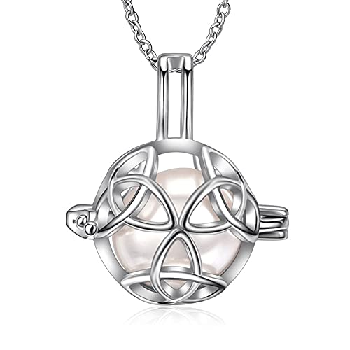 925 Sterling Silver Celtic Knot Cage Ladies' Love Necklace Personalized Jewelry Pearl Cage Pendant Birthday Valentine's Day