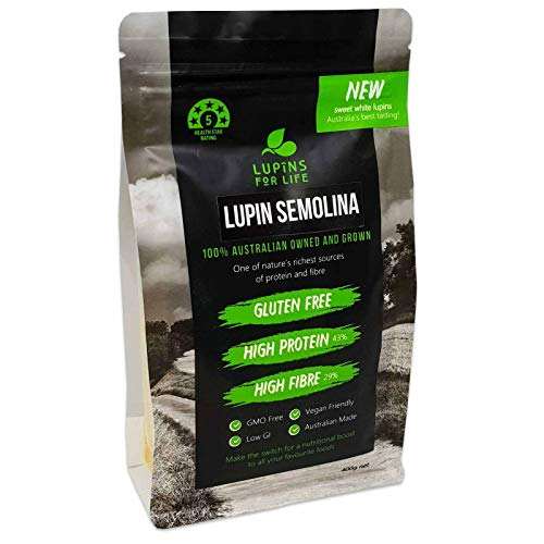 Lupins For Life, Non-GMO, Plant-Based, Pure Sweet White Lupin, Low Carb, High Protein & Fiber, Gluten Free, Keto, Vegan, Australian Grown (Lupin Semolina, Single Pack)