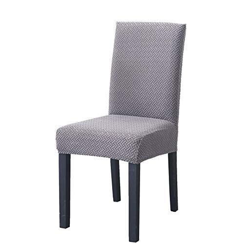 LiveGo Fundas para sillas de Comedor, elásticas y Modernas, extraíbles, Lavables, Plateado, Pack de 6