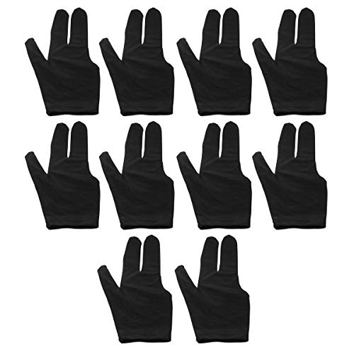 ZRM&E 10pcs Billiard Gloves 3 Fingers Snooker Shooter Cue Pool Gloves Fits Both Left and Right Hand, Black