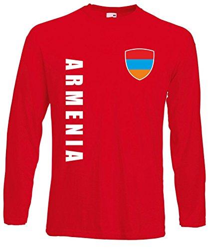 aprom Armenien Langarm T-Shirt Trikot LS-Spa Rot Longsleeve (XL)