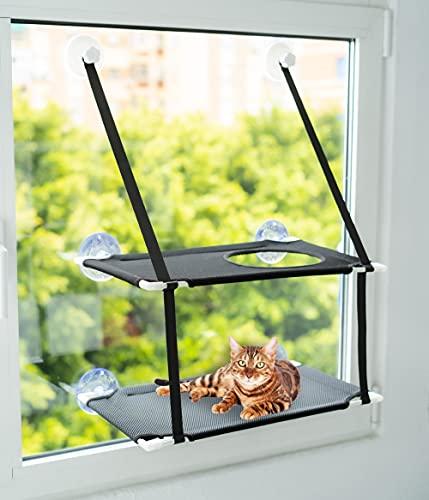 SHAIFER Hamaca Gato Ventana de Doble Piso con Agujero en el Piso de Arriba – Dinámico y Divertido para tu Gatito – hasta 15kg