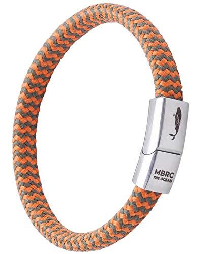 MBRC the ocean Robustes Armband im maritimen Look - Surferseil - Gewebearmband aus recyceltem Nylon - Edelstahl - Nautische Parakord-Schnur - Herren & Damen - Langlebig (Orange Olive, 18)