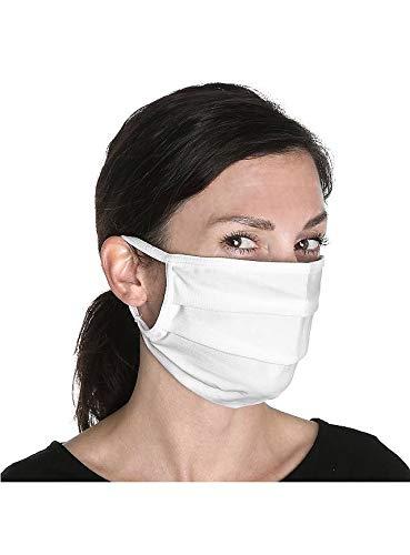 Maskworld - 3X Mund-Nasen-Schutz aus Bio-Baumwolle - weiß - wiederverwendbar & waschbar - Stoffmaske Mundschutz Alltagsmaske Gesichtsmaske