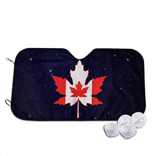 Bellaer Car Sun Shade, Canadian Flag Windshield Sunshade for Car Foldable Sun Shade for Car SUV Trucks Minivans Sunshades Keeps Vehicle Cool