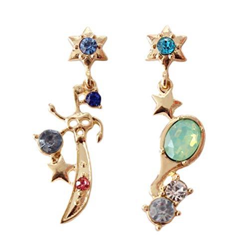 Vvff Espejo De Estrellas De Color Dorado Brillante Con Peine De Cristal Azul De Piedra Verde Sailor Moon Pendientes Largos Para Cosplay Niños Niñas