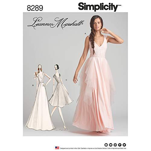 Simplicity Muster 4–8–10–12Schnittmuster Festliche Kleider Schnittmuster, weiß