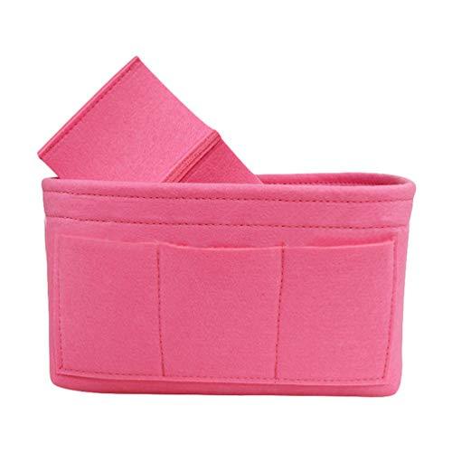 Dooxii Feutre Sac à Main Organiseur, Insert Organiseur de Sac à Main Cosmétique Sac de Rangement Sac à Main (Pink,34 * 17 * 18 cm)