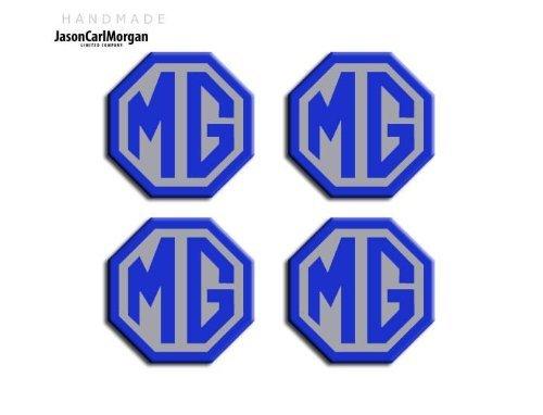 JasonCarlMorgan MG ZR LE500 Style Blue & Silver - Tapacubos de aleación para llantas (OCT45 mm)