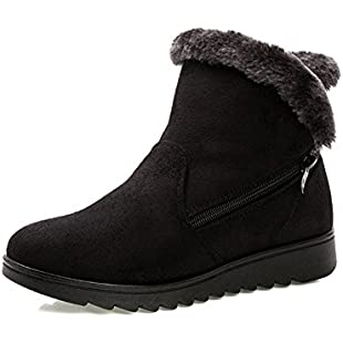 Gaatpot Womens Fur Lining Winter Warm Snow Boots Comfy Flats Waterproof Non-Slip Ankle Short Boots Low Heel Boots Shoes With Zip Closure:Comoparardefumar