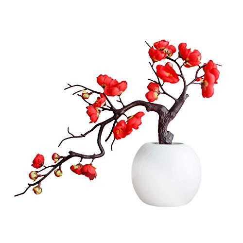 HLTER Bonsai artificial de flores de ciruela, ramas dobles de imitación, ciruelo con maceta de cerámica, arreglo de planta falsa en maceta para interiores, jardín, oficina, mesa de decoración festiva
