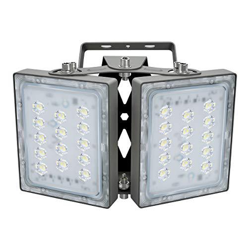 LED Luce di Inondazione All'aperto, 5400lm Luci di Sicurezza a LED con area di illuminazione più ampia, 5000K luce Diurna, Proiettore Regolabile 60W per Ingressi, Iarde, Garage
