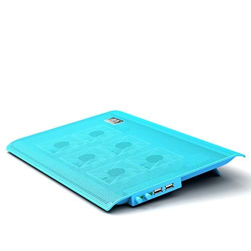 LQH - Enfriador para portátil (6 ventiladores, base delgada, ajuste de volumen de aire, 17 pulgadas, color azul, tamaño: 1)