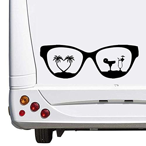 Superstiki, zonnebril, vakantie, hart, drank, caravan, camping, vakantie, ca. Stickers, Womo Wowa, autostickers, 30 cm