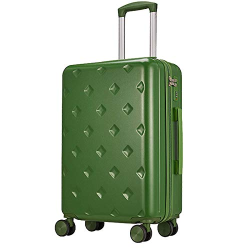 ABS Thicken Luggage, Expandable Lightweight Sturdy Silent Spinner Wheels with TSA Lock Spinner for Adults Tourism Student Vacation-43x25x65cm-green