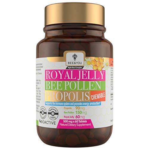 BEE and You Royal Jelly + Propolis + Bee Pollen Chewable Tablets - No Artificial Flavor - No Preservatives - No Added Sugar- No Soy – No Milk - No Gelatin – Non GMO – Gluten Free, 500 mg x 60 Tablets