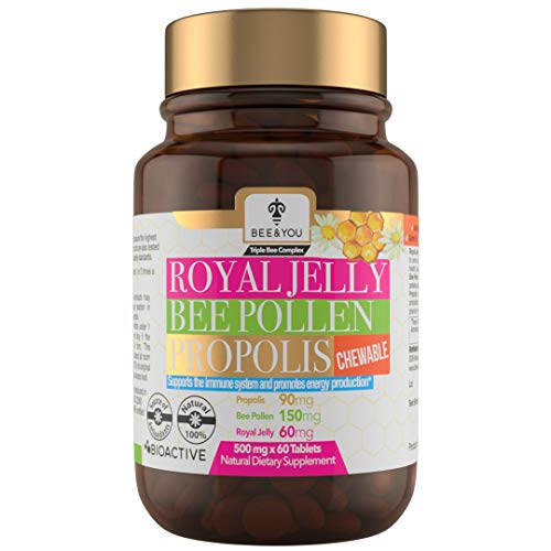 BEE and You Royal Jelly + Propolis + Bee Pollen Chewable Tablets - No Artificial Flavor - No Preservatives - No Added Sugar- No Soy – No Milk - No Gelatin – Non GMO – Gluten Free, 500 mg x 60 Tablets