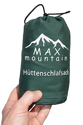 Max Mountain Sacco a pelo in microfibra traspirante I Sacco a pelo Inlay I 300 g Sacco a pelo estivo leggero ideale per hotel, rifugi di montagna e ostelli, SB-R01, verde, 220x90cm