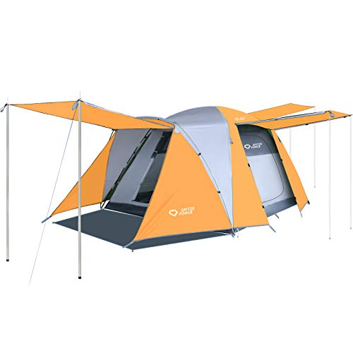Family Camping Tent, SPITZE FORGE 4 Person Large Waterproof PU3000mm Spacious Tent with Porch Double Layer, Easy Setup 3 Doors Outdoor Tent Lightweight for Backpacking Hiking Picnic Travel - Orange