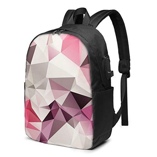 WEQDUJG Mochila Portatil 17 Pulgadas Mochila Hombre Mujer con Puerto USB, Rosa Triángulos de Colores geométricos Beige Mochila para El Laptop para Ordenador del Trabajo Viaje