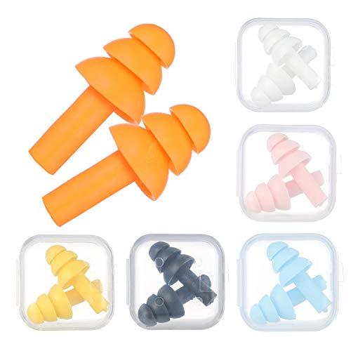 Opopark 6 Tapones para Los Oídos de Silicona Suave para Reducir el Ruido, Tapones para Los oídos Impermeables para Nadar, Reutilizables