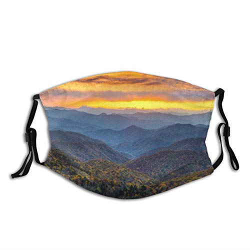 Face Cover Blue Ridge Parkway Mountains Balaclava Unisex Reusable Windproof Anti-Dust Mouth Bandanas Outdoor Camping Motorcycle Running Neck Gaiter with 2 Filters for Teen Men Women