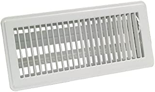 EZ-FLO 61637 Steel Floor Air Diffuser with Louvered Design with Grille Opening of 6-Inch x 10-Inch, White