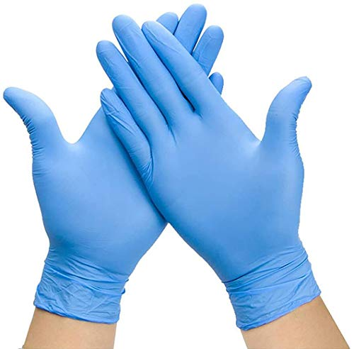 Blue Vinyl Gloves,Large Box of 100,Disposable PVC Gloves Latex Free, Powder-Free, Non-Sterile, Food Safe, Examination Gloves and Comfortable to Wear