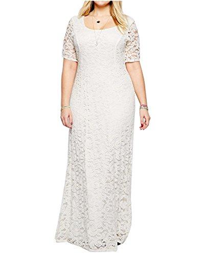 ZiXing Groß Größe Damen Elegante Abendkleid Kurzärmeliges Bodenlang Kleid Spitze Abendanzug Weiß 7XL(Büste:122CM-132CM)
