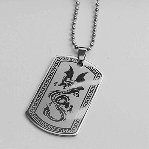 ZGYFJCH Co.,ltd Collar Vintage dragón Chino Collar Colgante Titanio Acero Hombres Collar de Licencia Militar