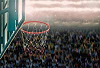 APANサポーターの写真の背景NBAテーマスポーツパーティーキッドマンスポーツスタジアムクラブ生徒のポートレート写真撮影の小道具とアリーナで5x3ftバスケットボールの誕生日パーティーの背景バスケットボールフープ