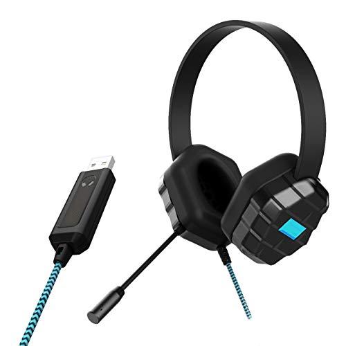 GumDrop Droptech USB B2 Auriculares resistentes con cable a prueba de mordiscos, micrófono incorporado, conector de audio de 3,5 mm para aula