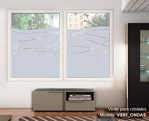 TOKPERSONAL Vinilo Adhesivo Cristales Ventanas Ref: VS01 Ondas- Material translucido Deja Pasar LA LUZ (120, 80)