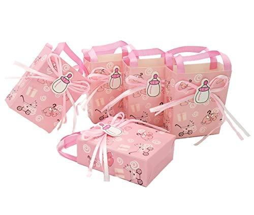 JZK 24 x Rosado baby shower favor bolsa niña bolsa dulce bolsa caja papel mini fiesta para fiesta cumpleaños bebé bautizo bautismo fiesta recién nacida