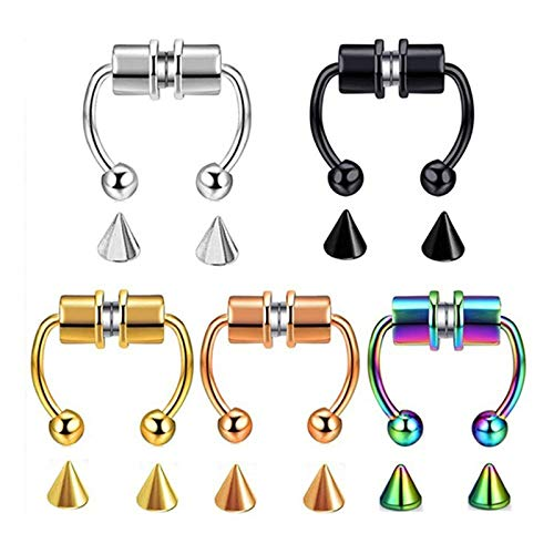 KSUDE 5 pcs Magnetic Septum Nose Ring, Non Pierced Stainless Steel Fake Nose Ring, Reusable Nose Ring