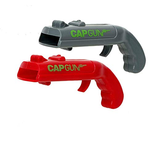 Beer Bottle Opener, Cap Gun Launcher Shooter Bottle Opener Drink Beer Bottle Openers Gun Toy for Bar Party Drinking Game(Red and Gray)