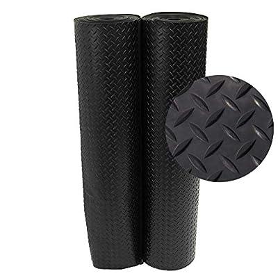 Rubber-Cal Diamond Plate Rubber Flooring Rolls, 1/8-Inch x 4 x 15-Feet, Black