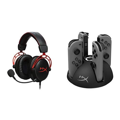 HyperX Cloud Alpha Gaming Headset and HyperX ChargePlay Quad - Joy-Con Charger for Nintendo Switch