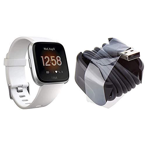 Fitbit Unisex– Erwachsene Versa Lite Smartwatch, Weiß, Einheitsgröße & Ladekabel für Fitbit Versa