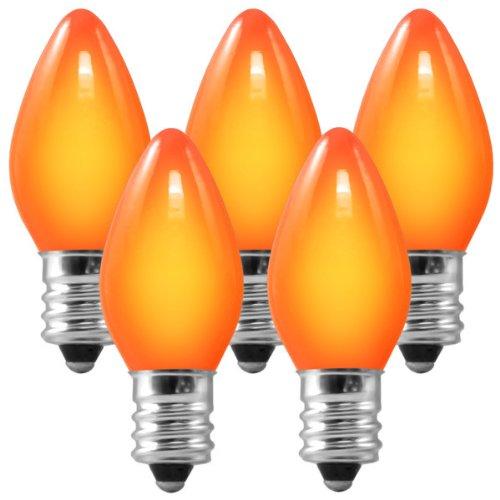 C7 - Ceramic Amber-Orange - 7 Watt - Candelabra Base - Christmas Lights - 25 Pack