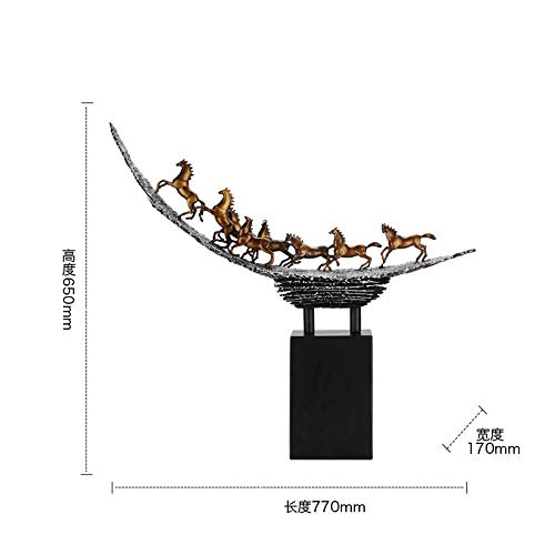 Lghoen Deko Skulpturen Statue Figur Acht Pferde, Pferdeskulptur aus Bronze, Weinschrank zu Hause, TV-Schrankdekoration, Wohnzimmer, Büro, Desktop-Dekoration, Geschenke-A