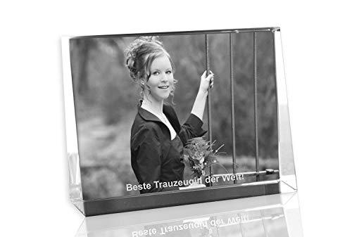 VIP-LASER 2D Gravur Glas Kristall Flachglas selbststehend Querformat mit einem Foto Deiner besten Freundin oder Trauzeugin. Dein Wunschfoto für die Ewigkeit Mitten in Glas! Groesse L = 80x60x24mm